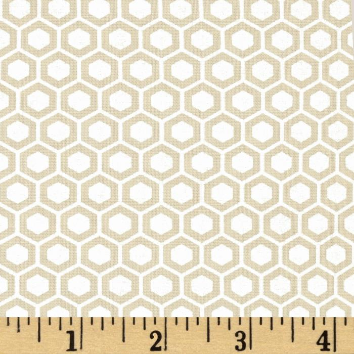 Moda Muslin Mates Hexagons Natural