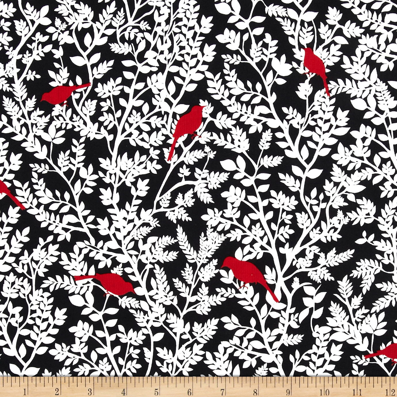 Timeless Treasures Nouveau Rouge Birds Red Fabric
