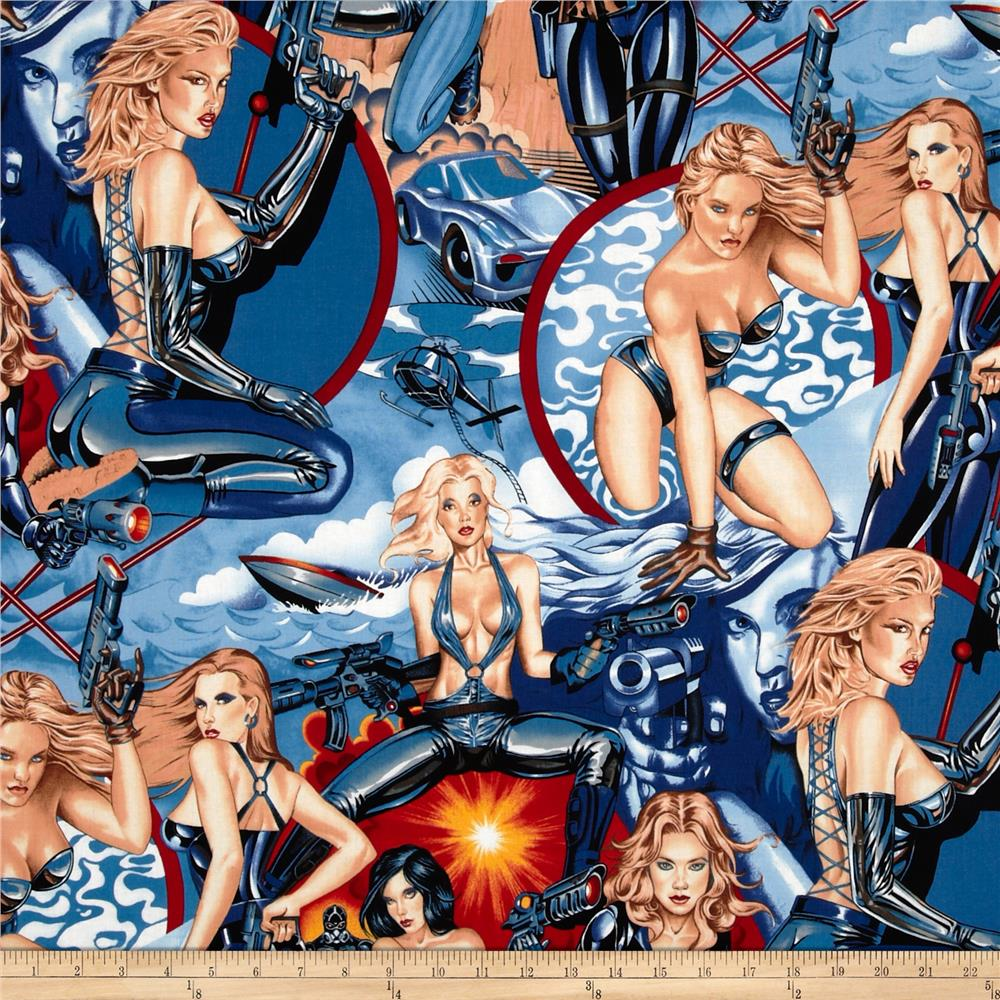 Nicole's Prints Fired Up Pinup Girls Blue