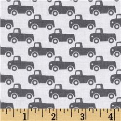 Michael Miller Tiny Trucks Grey Fabric