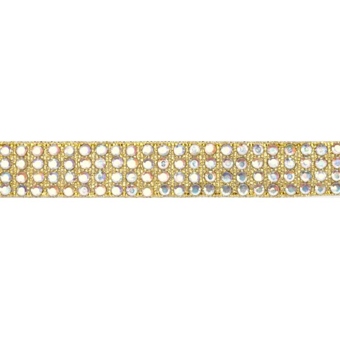 Hot Fix Flatback Rhinestone Trim Crystal AB/ Gold Band