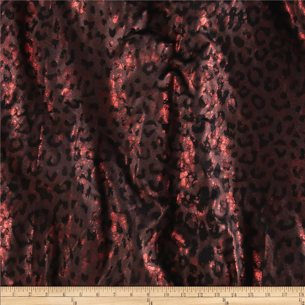 Stretch Metallic Novelty Knit Cheetah Red/Black