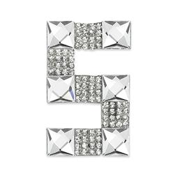 "Rhinestone Applique Number 5 2 1/4 x 1 3/4"" Crystal"