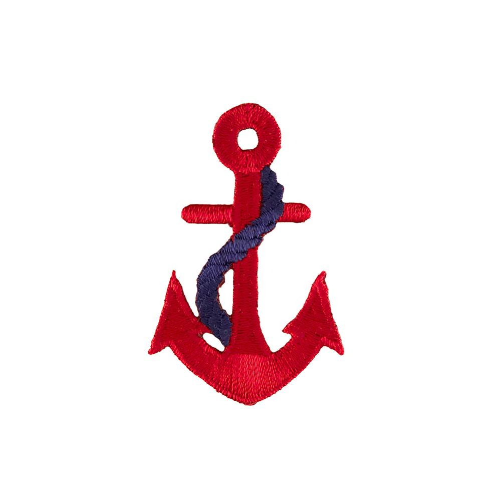 Anchor with Rope Applique Red