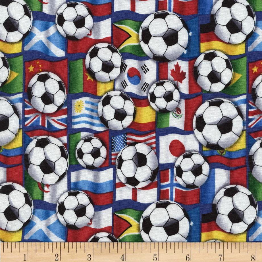 Timeless Treasures Soccer Balls & Flags Multi