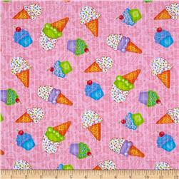 Tutti Frutti Plisse Icecream and Cupcakes Pink Fabric