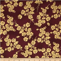 Mary May Metallic Foil Floral Burgundy/Gold