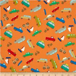 Riley Blake Road Trip Flannel Scenic Cars Orange