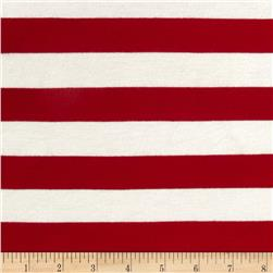 Stretch Rayon Jersey Knit Large Stripe Red/White