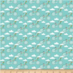 Riley Blake Fancy Free Fancy Bikes Teal
