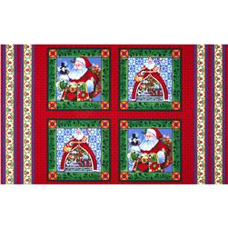 Jim Shore Christmas Santa Pillow Panel Blue