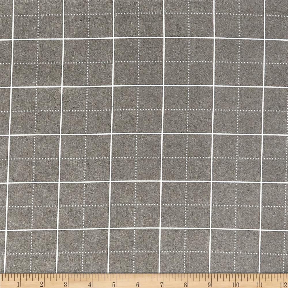 Kaufman Framework Flannel Gridwork Grey Fabric By The Yard