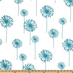 Premier Prints Dandelion White/True Turquoise Fabric