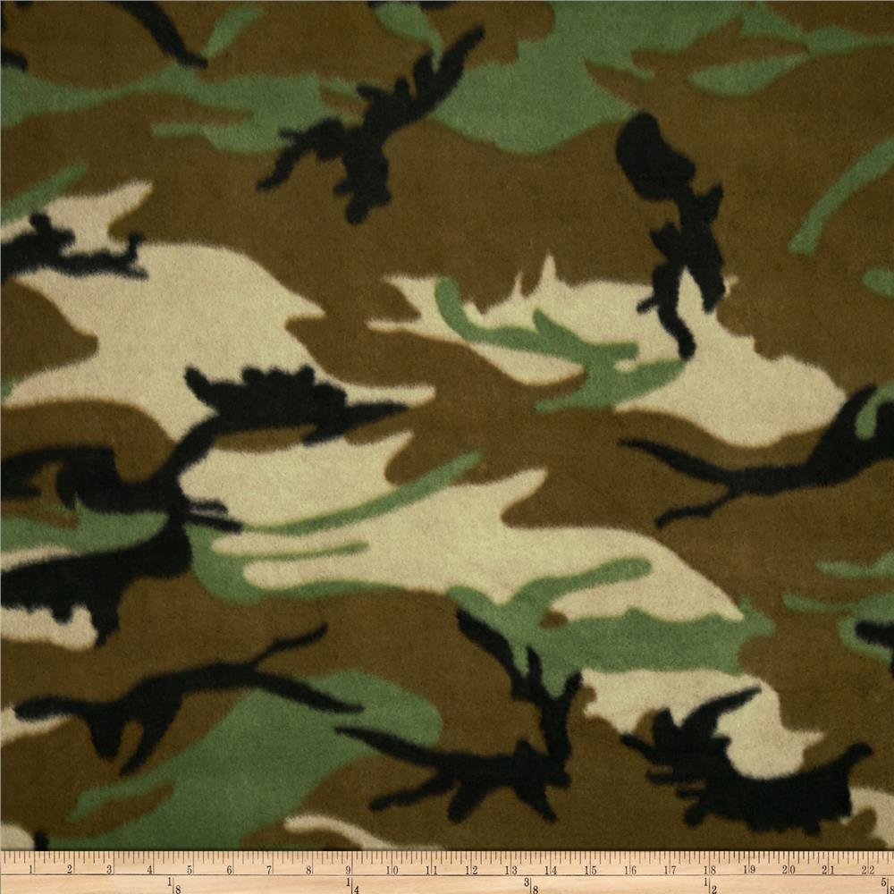Printed Fleece Camo Green