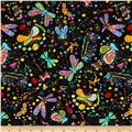 Timeless Treasures Mexican Joy Butterflies & Dragonflies Black