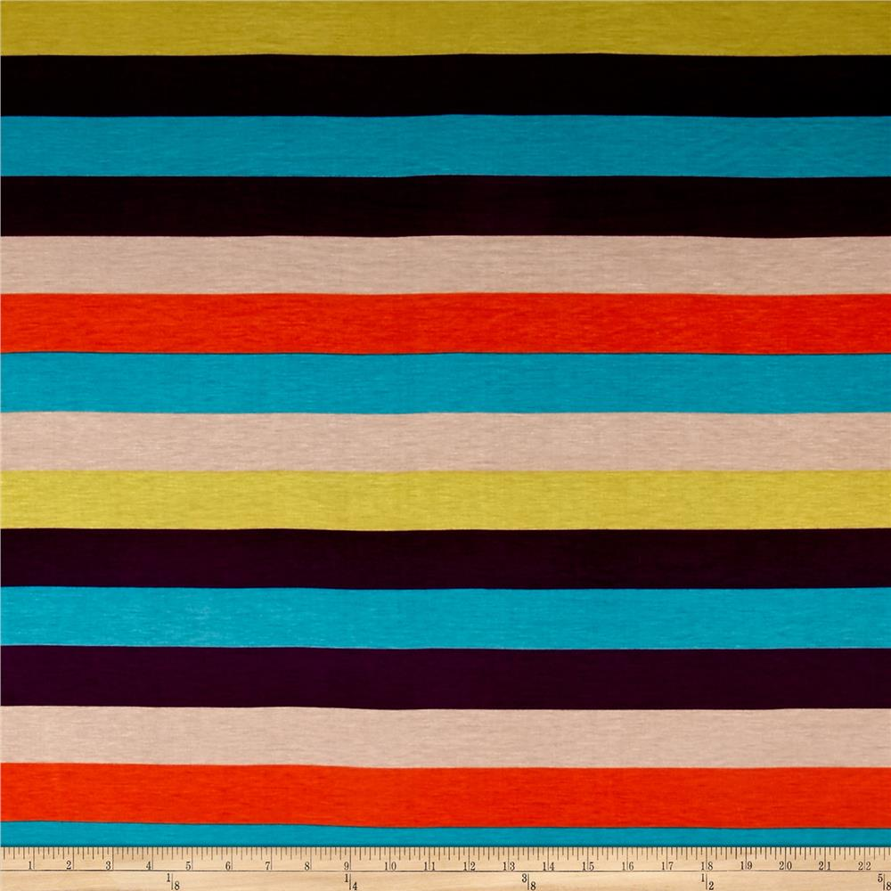Rayon Jersey Knit Rainbow Stripes