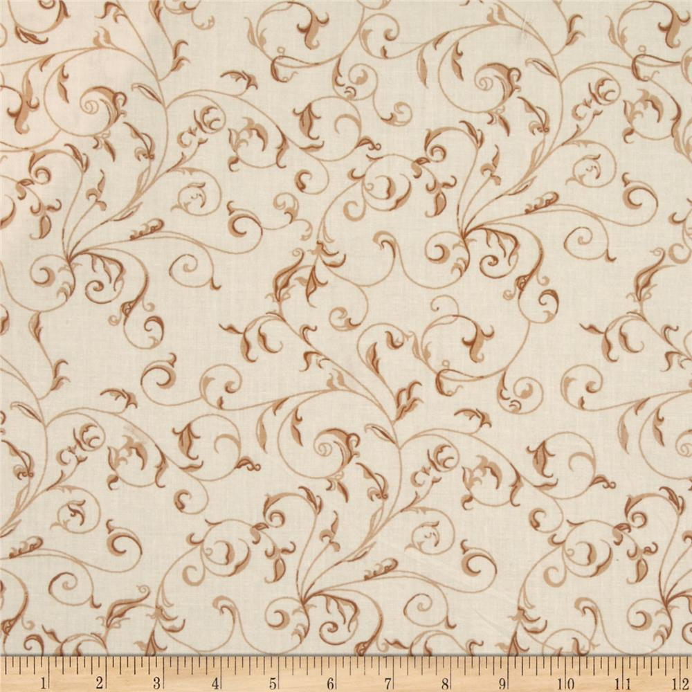 "110"" Wide Quilt Backing Filigree Cream"
