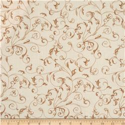 110'' Wide Quilt Backing Filigree Ivory/Taupe Fabric