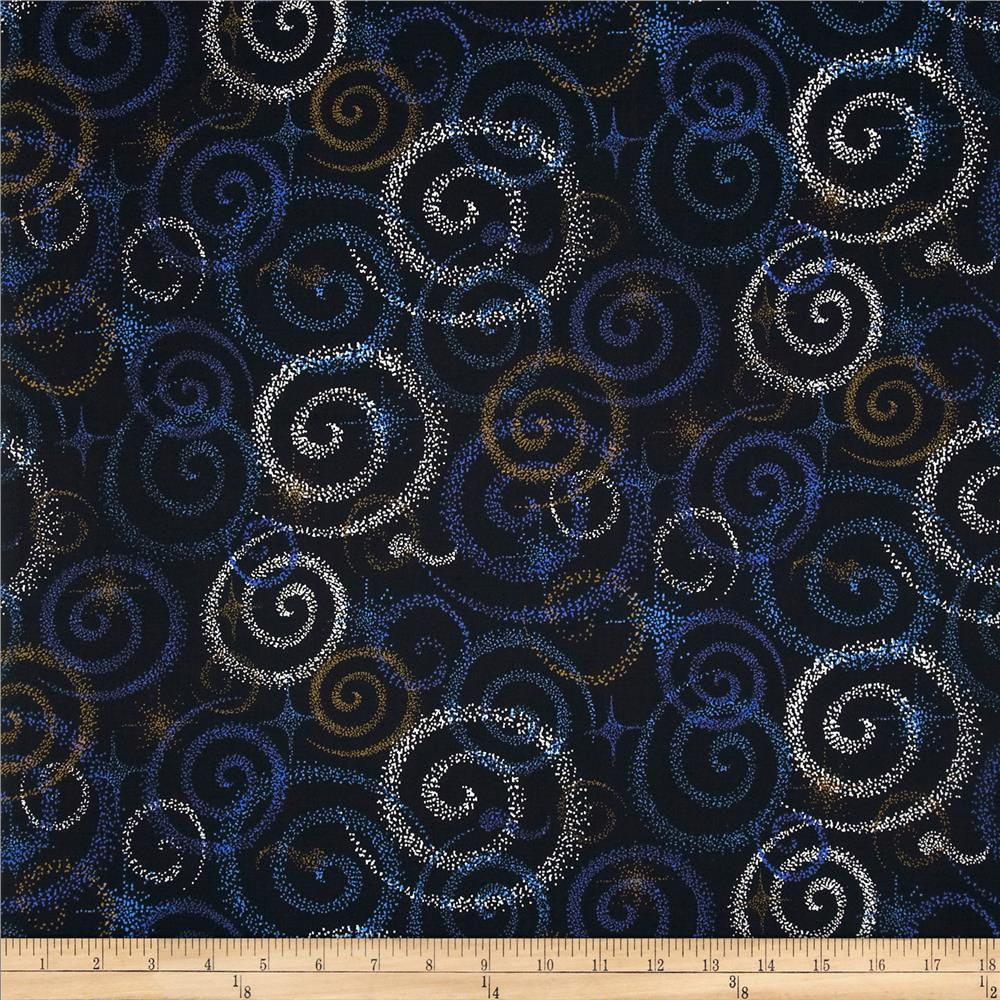 Celestial swirls black multi discount designer fabric for Celestial pattern fabric