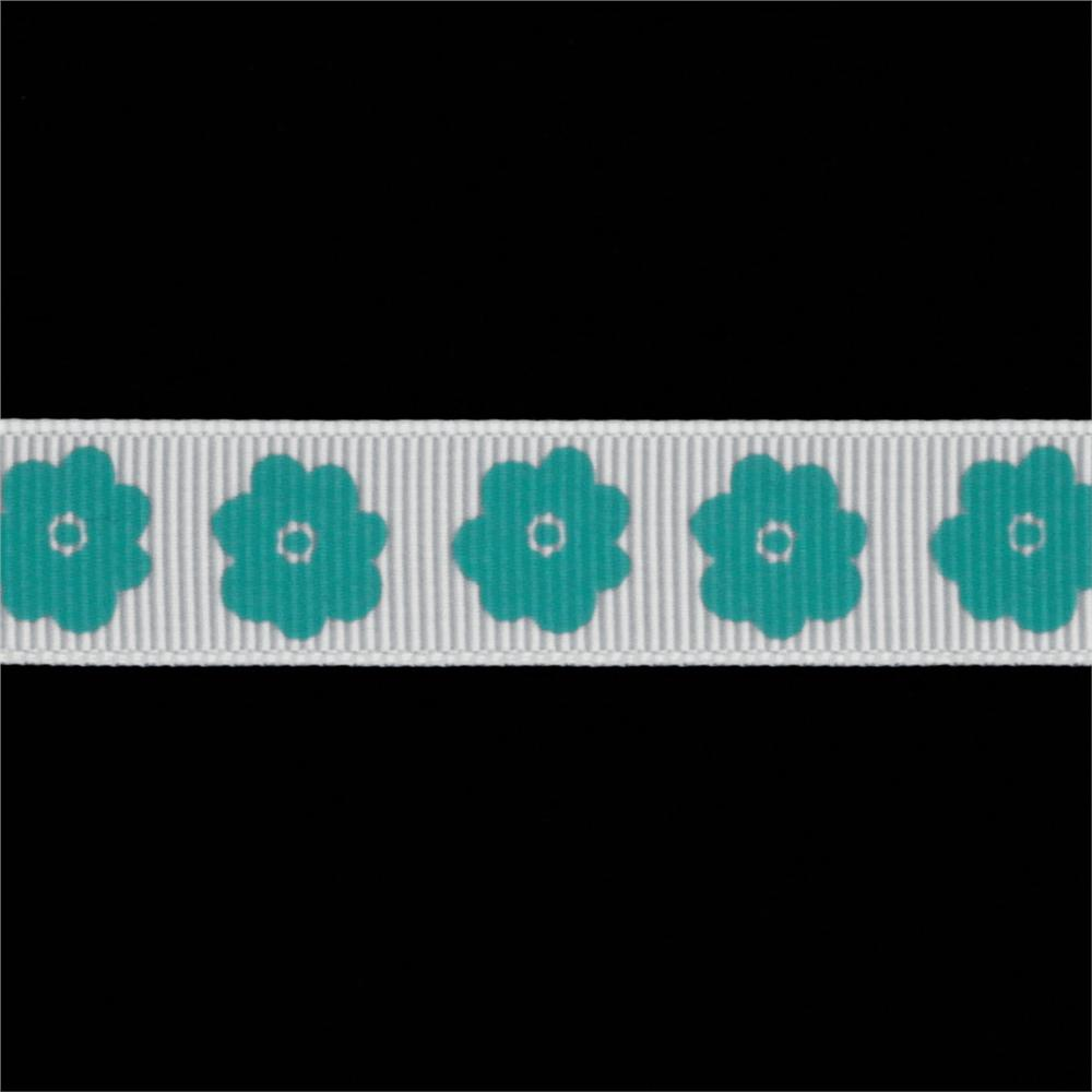 Riley Blake 5/8'' Grosgrain Ribbon Flower Teal