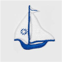 Boutique Applique Sailboat White/Blue
