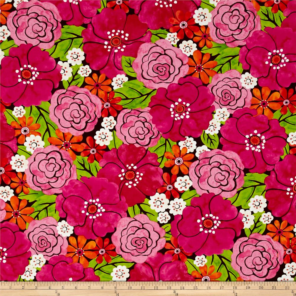 Timeless Treasures Maya Big Blooms Pink
