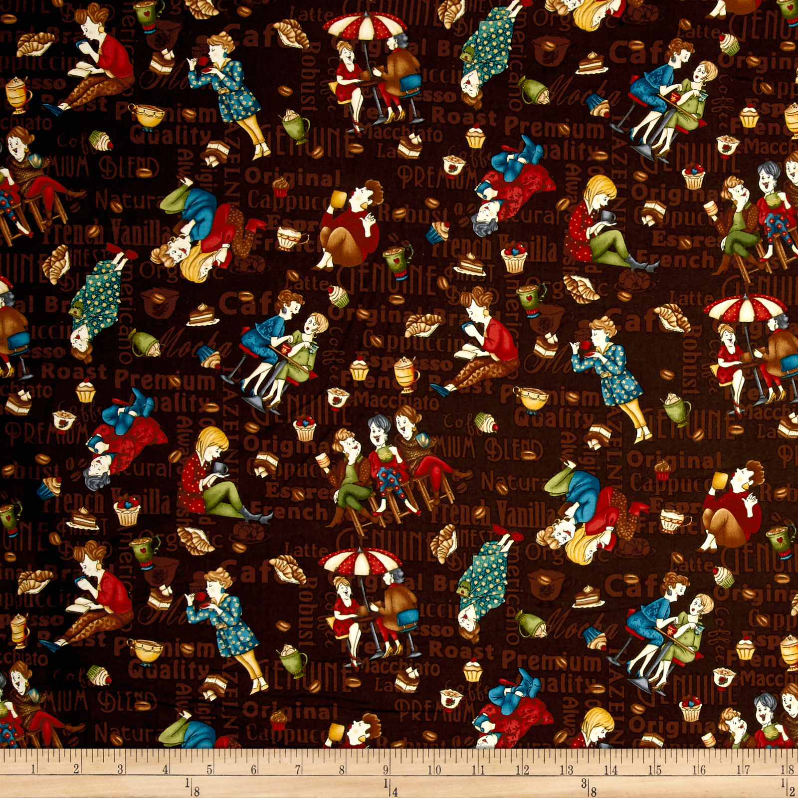 Image of Coffee Escapes Tossed Coffee Ladies Espresso Fabric