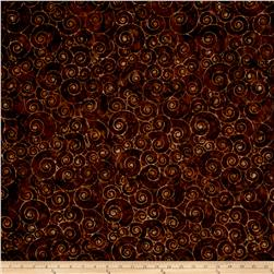 Timeless Treasures Batik Tonga Sophisticate Snail Shells Fudge