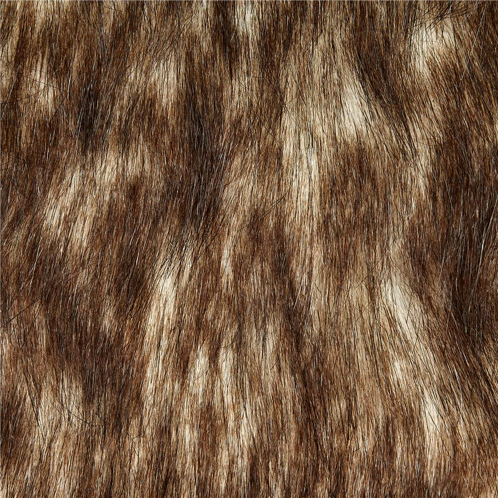 Faux Fur Russian Husky White/Brown