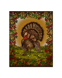 Golden Harvest Metallic Turkey 36 In. Panel Multi