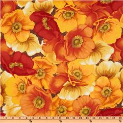 Windflower Large Floral Red/Gold