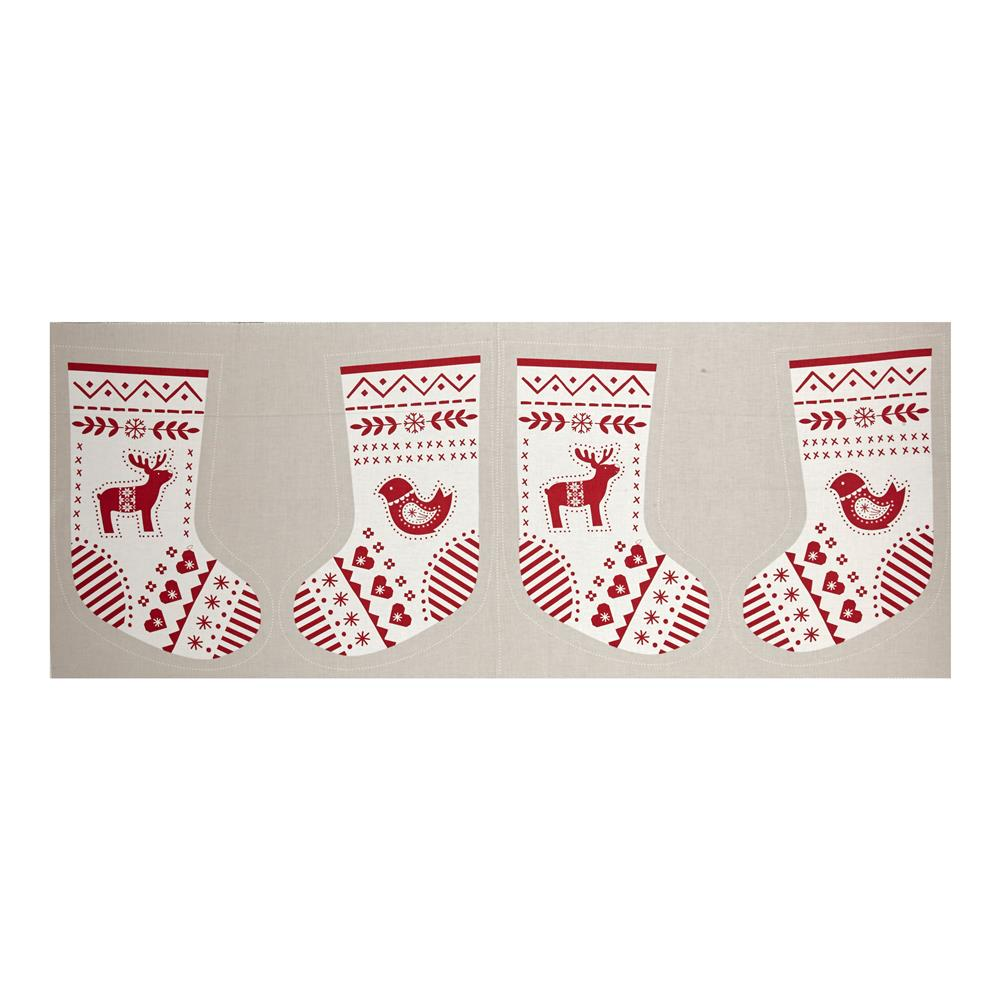When I Met Santa's Reindeer Stocking 18 In. Panel Red