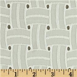 Basket Weave Cotton Eyelet Ivory