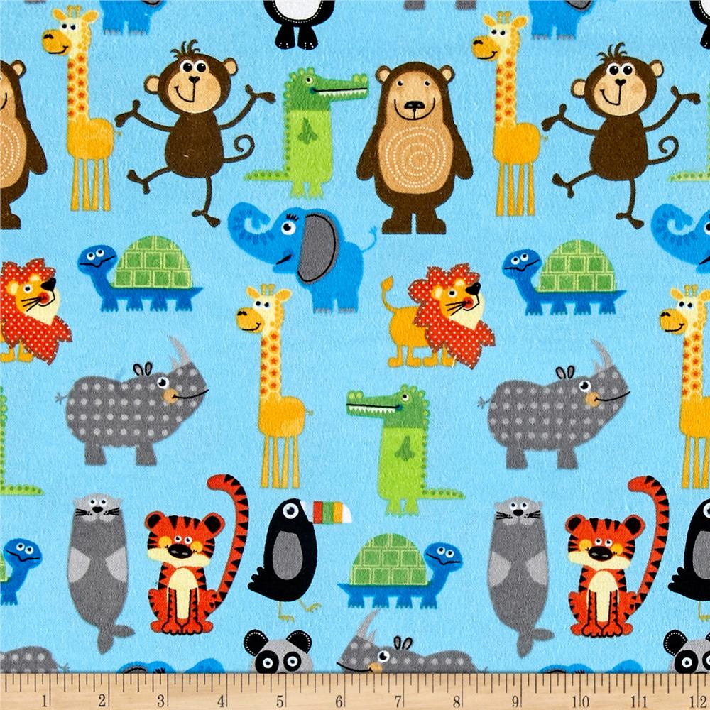 Comfy Flannel Zoo Animals Blue
