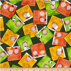 Peanuts Welcome Great Pumpkin Overlapping Patches Forest Fabric
