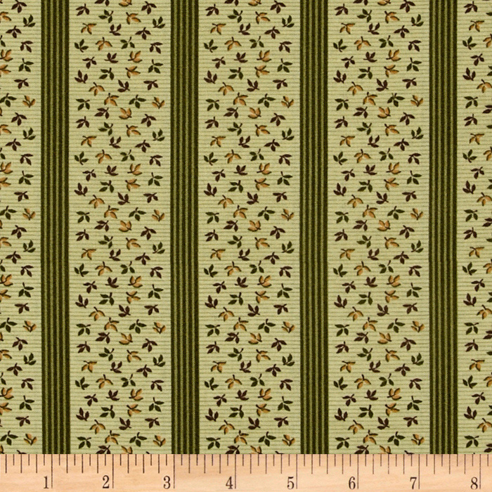 Bread and Butter Leaf Stripe Green Fabric