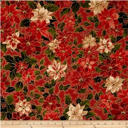 Moda Holly Night Metallic Poinsettia & Holly Crimson