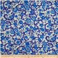 Stretch Poplin Miramar Flowers Royal