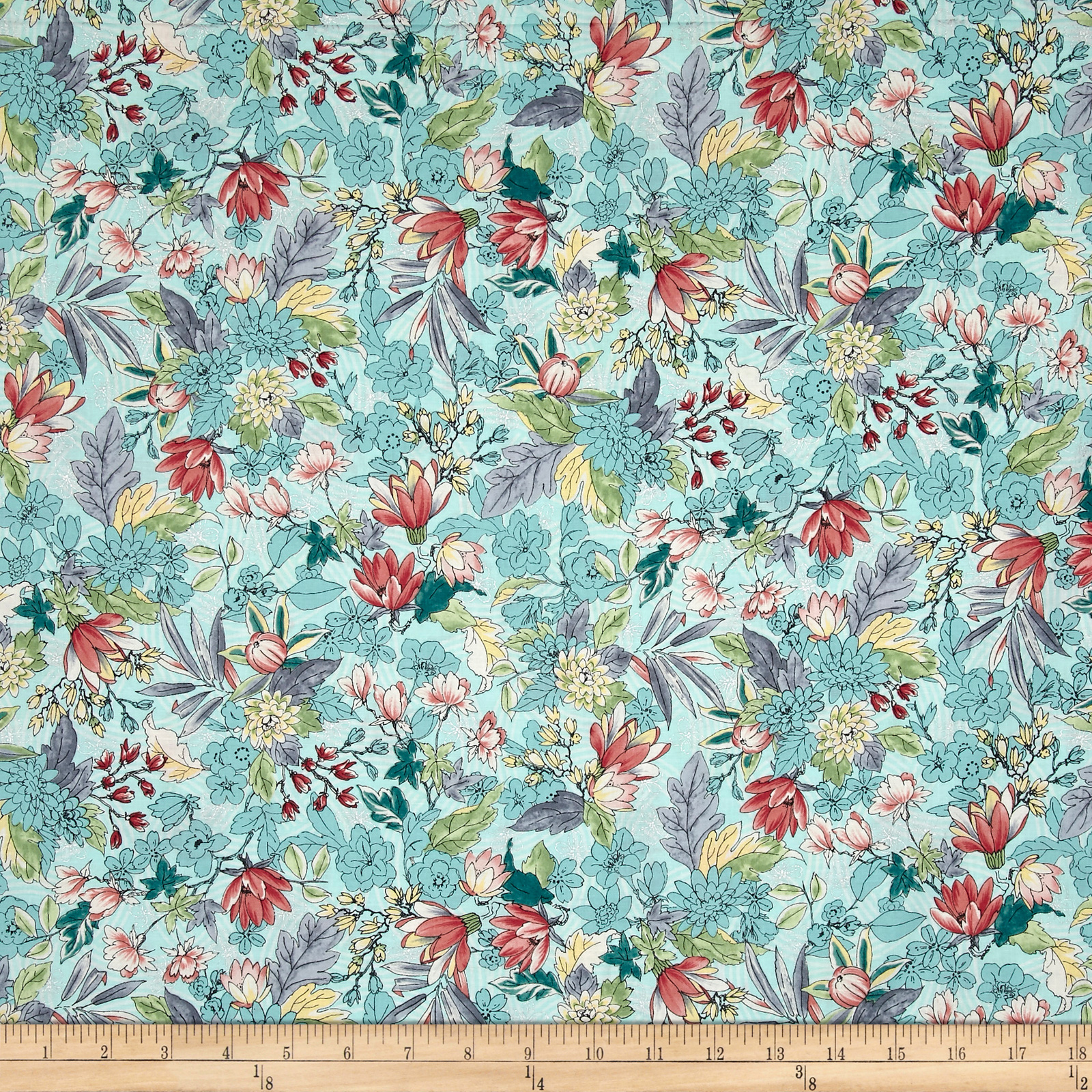 Serene Spring May Flowers Breeze Metallic Fabric 0531127
