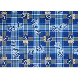MLB Fleece Kansas City Royals Plaid Blue Fabric