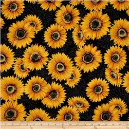 Robert Kaufman Shades of the Season Metallic Sunflowers Black