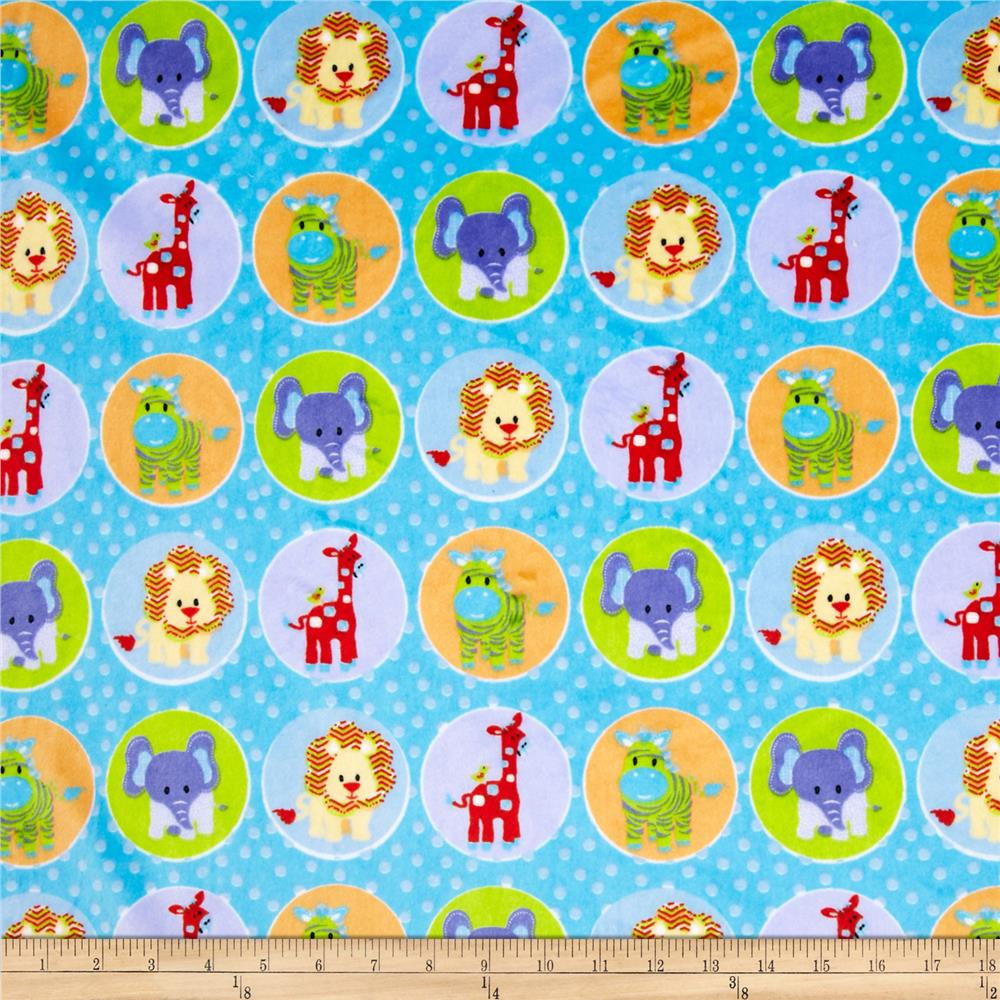 Minky Circus Animal Blue Fabric