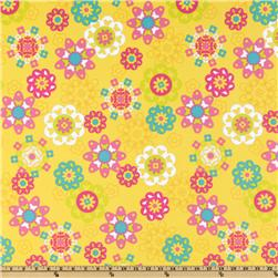 Irving Street Flannel Flower Power Yellow