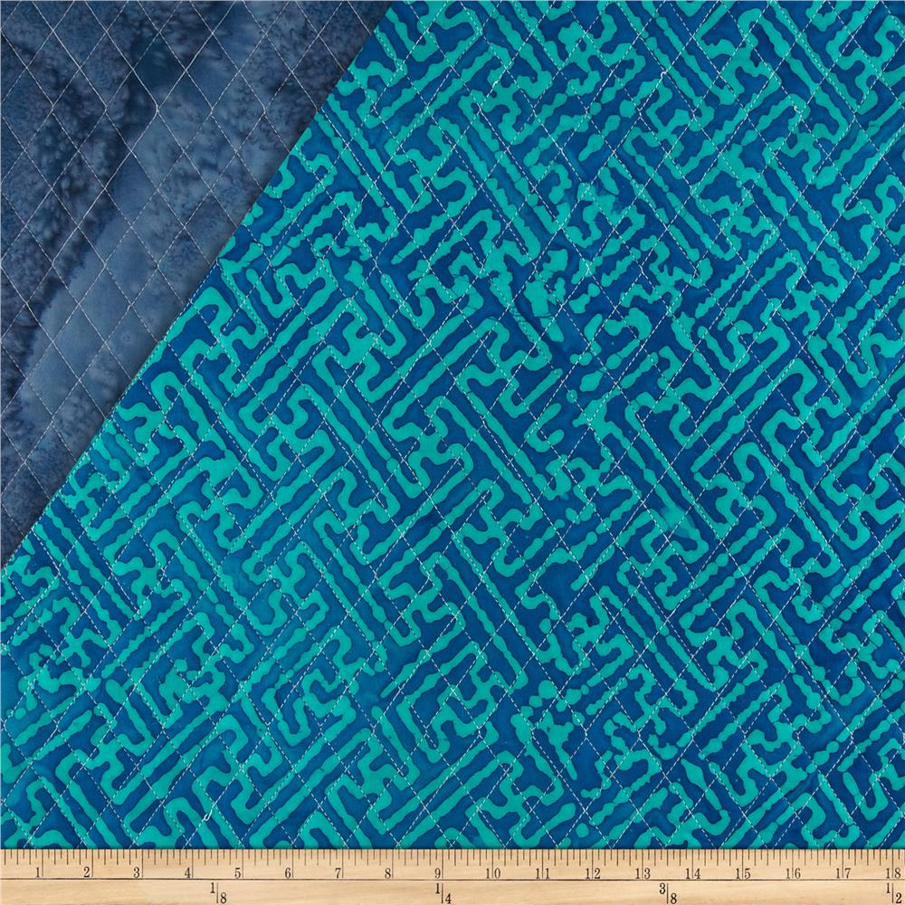 Indian Batik Double Sided Quilted Mesh Print Turquoise/Blue