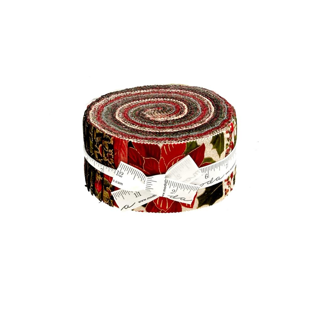 "Moda Holly Night Metallic 2.5"" Jelly Roll"