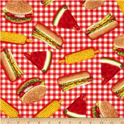 Robert Kaufman Kiss the Cook Picnic Food Red