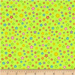 Welcome to My World Stars Lime Fabric