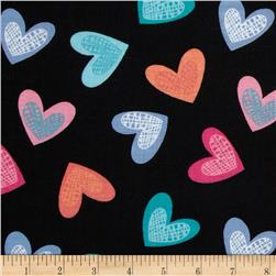 Newcastle Novelties Hearts Black Fabric