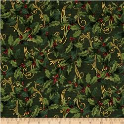 Festive Flora Metallic Holly Script Pine/Gold