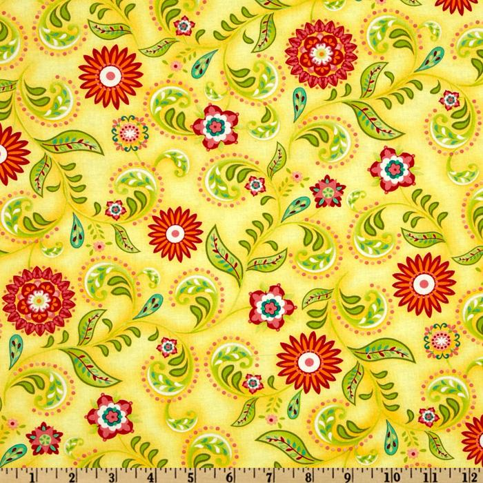 Picadilly Lane Allover Florals Lemon